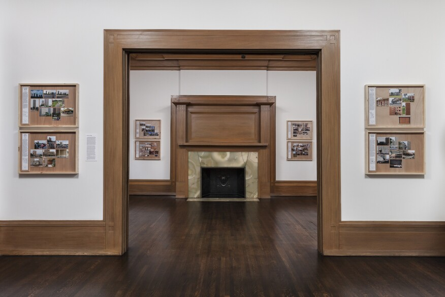 The exhibition at the Graham Foundation displays the architecture in 5x7 photographs arranged in shadowboxes.