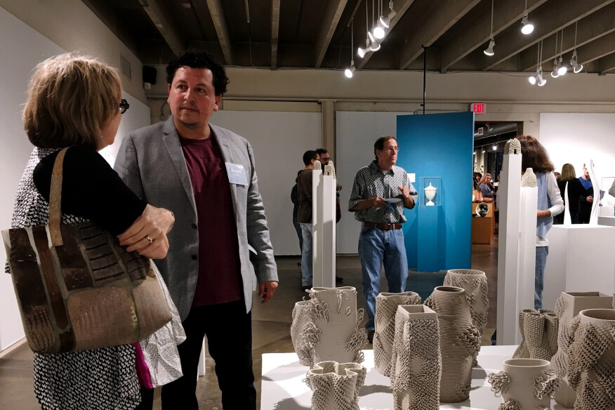"""Ronald Rael in conversation during the opening of """"A Tipping Point,"""" Northern Clay Center, Minneapolis"""