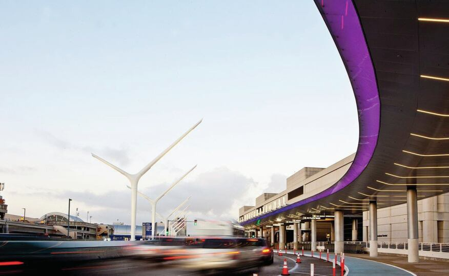 The completed curbside area in front of the Tom Bradley International Terminal is the first phase of planned improvements for the entire airport.