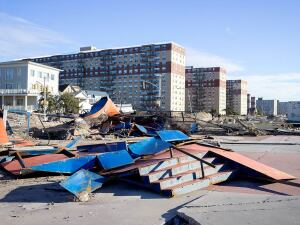 Devastation at Rockaway Beach in New York following Hurricane Sandy, which hit the East Coast in October 2012.