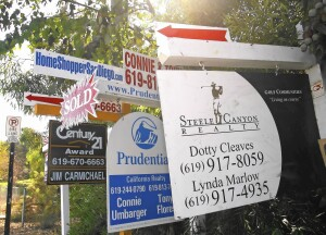 Myriad real estate signs are posted in Rancho San Diego, California, U.S., on Sunday, Oct. 14, 2007. Home prices are continuing to fall in Southern California. Photographer: Jack Smith/Bloomberg News