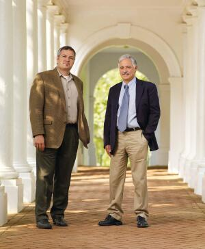 Pictured on the suitably neoclassical campus of the University of Virginia, faculty members Dean Abernathy (far left) of the School of Architecture and Bernard Frischer of the Department of Classics have helped create a digital model of the city of Rome in A.D. 320. Their collaborator on the project is University of California, Los Angeles, classicist Diane Favro, who is currently abroad.