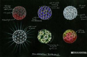 The blackboard rendering shows thumbnail drawings of various ball animations for the Times Square New Year's Eve Ball. The ball features 672 individual crystal triangles that are each backlit by 12 LEDs, three each of red, green, blue, and white.ENLARGE IMAGE
