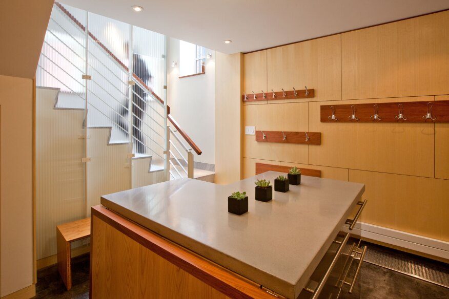 Staircase as artwork creative rethinking of a basement for Kitchen design quincy ma
