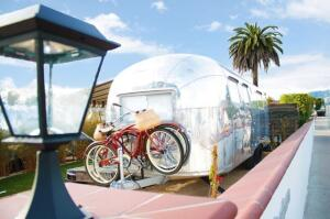 One of the Airstreams restored by Hofmann Architecture for Santa Barbara Auto Camp, a new, all-Airstream hotel in Santa Barbara, Calif.