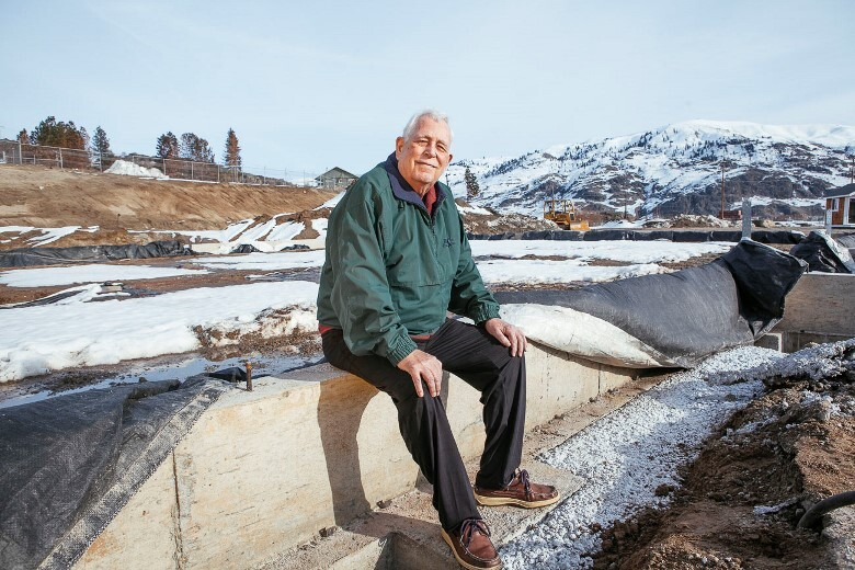 Edd La Mar, founder and owner of Lake Chelan Building Supply, at the site of his damaged Chelan store, where construction is underway