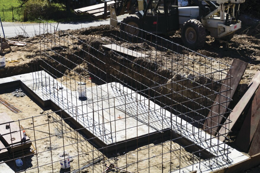 ... in the rebar gridwork for the walls.