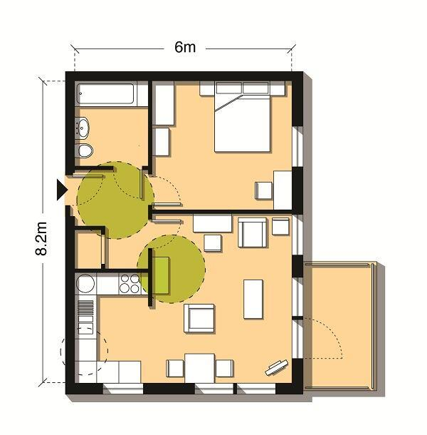 Use created when a 463-square-foot one-bedroom flat is increased to 537 square feet (49 square meters).