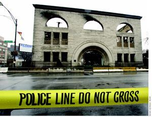 Sullivan's Pilgrim Baptist Church on Jan. 17, nearly two weeks after the blaze had gutted it.