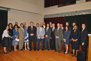 Mayor Luke Ravenstahl, County Executive Rich Fitzgerald, Councilman Daniel Lavelle, and many of the founding partners of the Pittsburgh 2030 District.