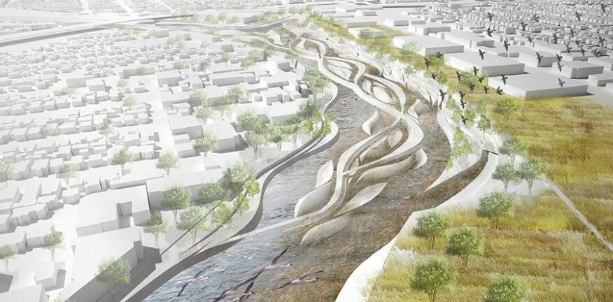 """Los Angeles Riverscape: an Urban Estuary"" rendering by Tina Chee from CSAO Architects"