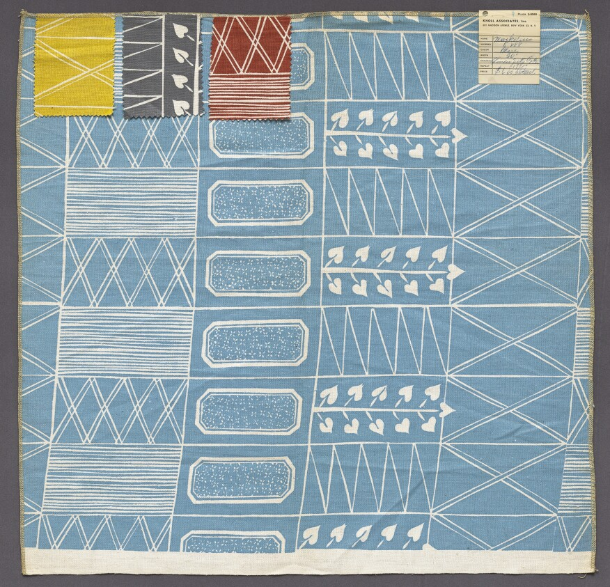 A fabric sample by Swedish architect Sven Markelius designed between 1948 and 1950.