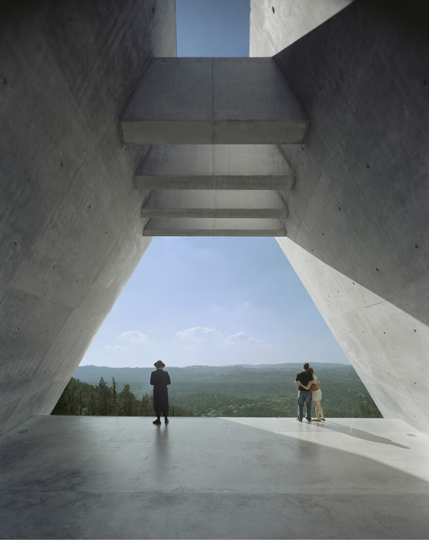 View at the end of the prism at the Yad Vashem Holocaust Museum in Jerusalem, Israel, by Moshe Safdie.