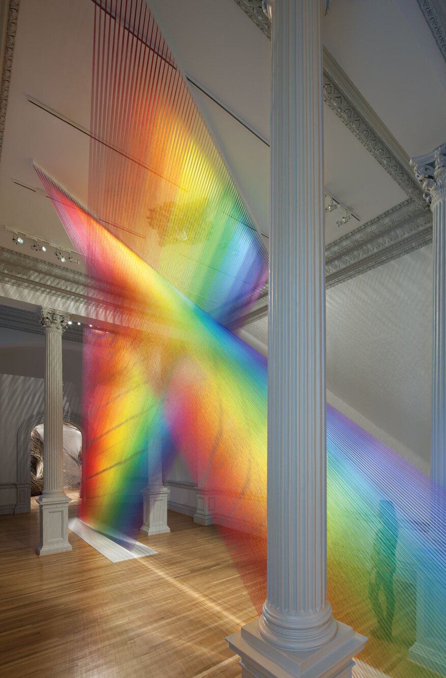 "Gabriel Dawe's installation Plexus A1 (2015), part of the Renwick Gallery's ""Wonder"" exhibit, uses colored thread and looks like rays of light."