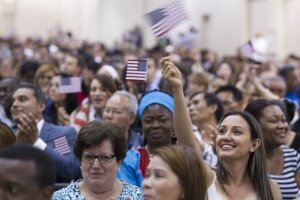 A naturalization ceremony in Boston on June 16.