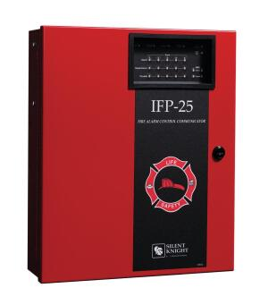 The IFP-25 from Silent Knight by Honeywell has a 25-point fire alarm with addressable technology. Suitable for applications where a two- to five-zone conventional fire alarm system would have been installed otherwise, it features pin-point dentification of trouble locations and false-alarm prevention via detector drift compensation and automatic maintenance alerts. The system features code-wheel-addressed detectors, JumpStart programming, and a built-in programming browser that doesnt require custom software. It also supports combinations of addressable HFS detectors and modules, and runs on a single loop of standard wire rather than a shielded or twisted pair. farenhyt.com