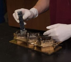 ACI's two certification programs address unique aspects of masonry testing in both the laboratory and field environments. Here, 2-inch mortar cubes are fabricated according to ASTM C109.