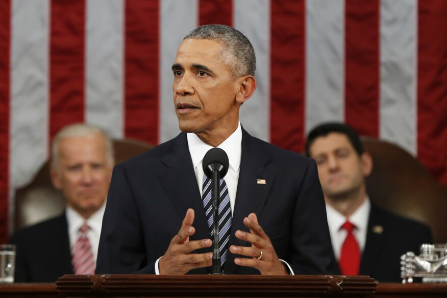 President Barack Obama delivers his State of the Union address before a joint session of Congress on Capitol Hill in Washington, D.C.