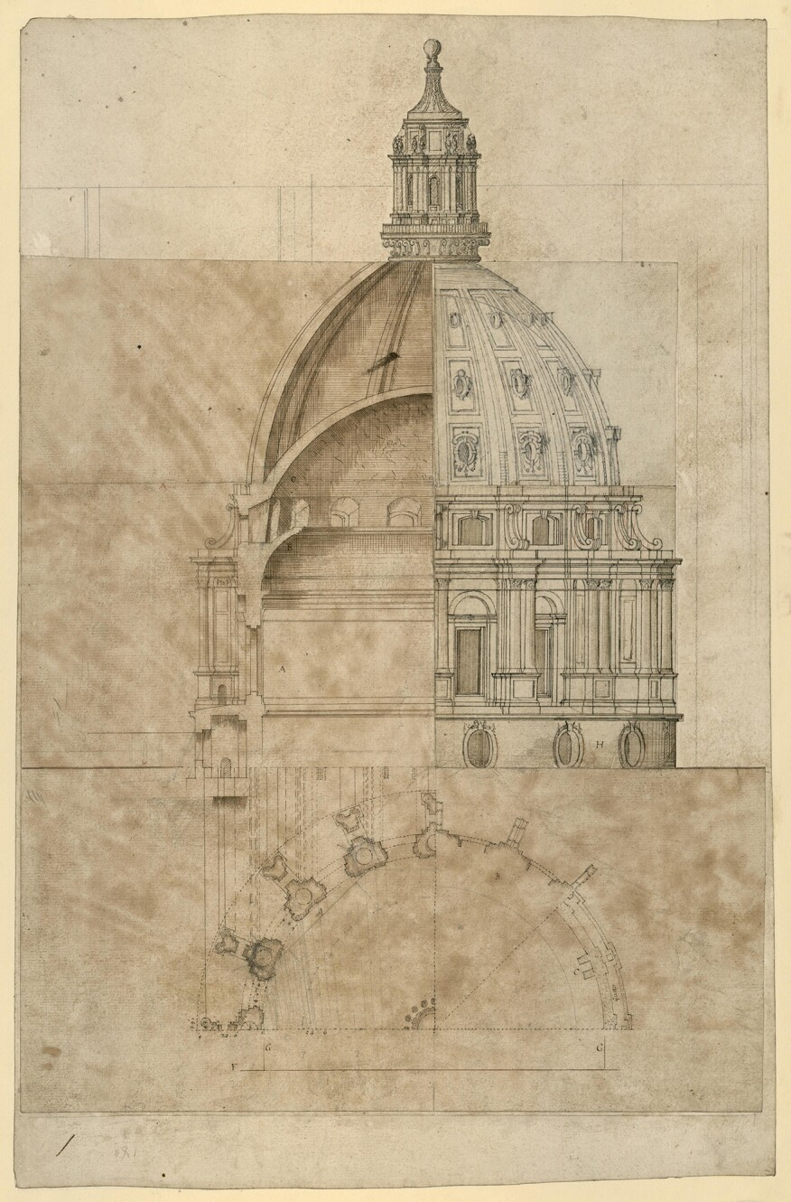 Composite section, plan, and elevation of two versions of a 16-bay dome for St. Paul's, drawn by Hawksmoor c.1690