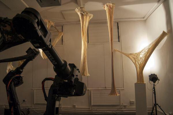 The hand-mixed composite material, made primarily with polyurethane, was a significant uncertainty in determining the structural success of the resulting forms.