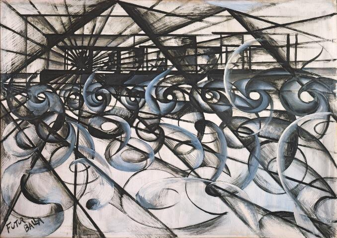 Giacomo Balla, Speeding Car (Velocità d'automobile), 1913; Oil and ink on paper, mounted on board, 73 x 104 cm; Private collection