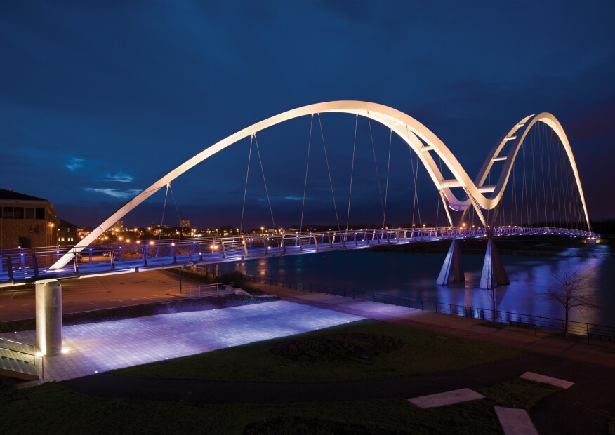 For the Infinity Bridge that spans the River Tees in Stockton-on-Tees in northeast England, acdc's fixtures are specified as part of the lighting design.