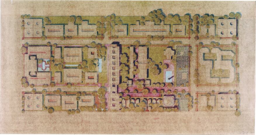 An unbuilt master plan (c. 1970) for Rice University by Louis Kahn, who the de Menils helped recruit for the project.
