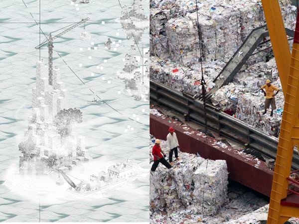 The exhibit proposes the creation of eight artificial islands around Hong Kong to address needs that the small region may soon not be able to meet—among them, storing and processing excess products and waste.