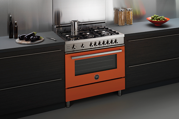Arancio brings a pop of color to the kitchen.