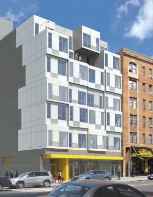 Factory-built modules will form both the structure and the individual units at this prefab multifamily building designed by Peter Gluck and Partners.