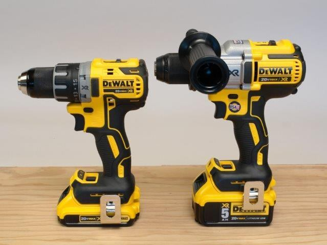 DeWalt's new 20V MAX XR compact drill driver (left) is more portable and about 1 1/2 pounds lighter than its new full-size 20V MAX XR (right), but delivers enough power to handle the majority of jobsite applications.