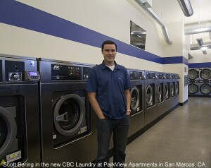 Scott Bering oversees the new CBC Laundry at ParkView Apartments in San Marcos, Calif.