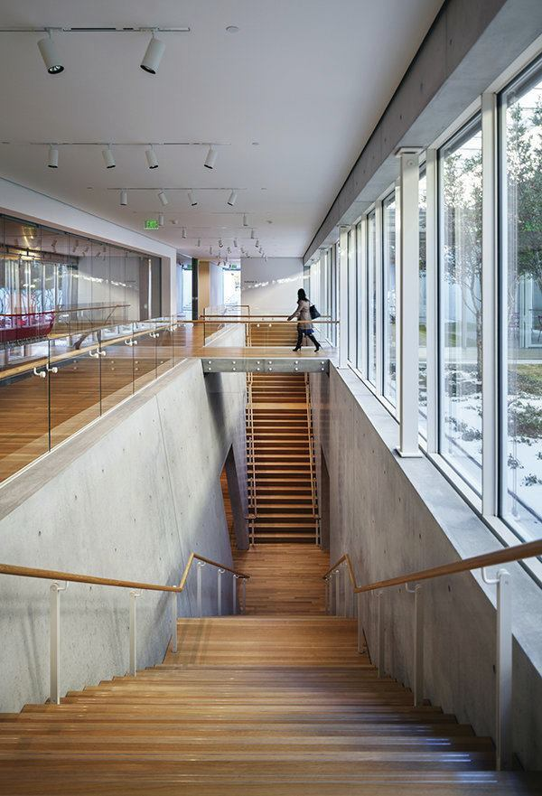 The stairway in the new Renzo Piano Pavilion leads down to the auditorium.