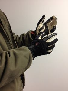This is an unused pair of Journeyman gloves, a slightly heavier-duty version. Note the reinforcing patches on the palm and the padding on the knuckles.