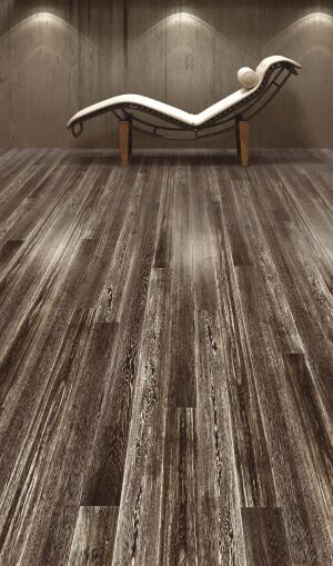 Terra Legno. The Fumato Soppalco line of FSC- and SFI-certified engineered wood flooring includes Aztec silver (shown), Mayan gold, and Inca bronze. The flooring has a micro-bevel edge, is 9/16 inch thick, and comes in three widths and random and fixed lengths. 800.393.7424. www.terralegno.com.