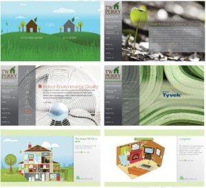A PATH OF GREEN: (Counterclockwise from top left) Users decide if they want to enter the site as a builder or consumer; builders can learn about basic green building concepts; an interactive house provides loads of information in a format that's easy to use; the house zooms in to specific rooms to show green options; the site lists a variety of green products; and the site uses Earth-inspired graphics to highlight its message.
