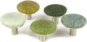 Beach Pebble cabinet pulls from SpectraDécor are smooth circles of 100 percent recycled glass on a lead-free pewter base. Nearly 2 inches in diameter, the knobs feel good in the hand as well as on the conscience. The knobs are available in 10 earth-friend