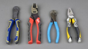 The author tested the Vise-Grip Max Leverage Diagonal Cutting Pliers (left) against standard cutters from Milwaukee, Channellock, and NWS--and in terms of cutting power it outperformed them all. But the Irwins were longer than two of the cutters and the only compound model so it was not an apples-to-apples comparison. The takeaway: compound cutting action is better/more powerful than simple cutting action.