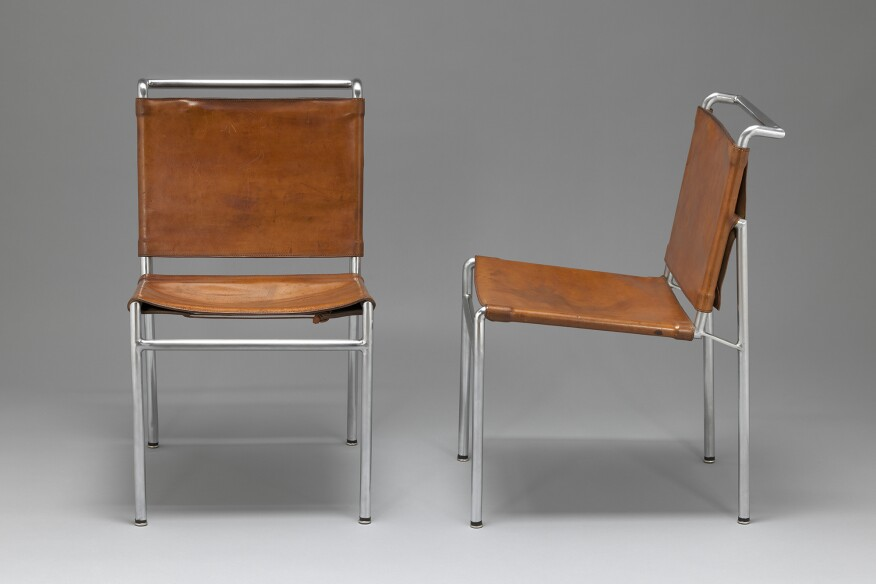 Chair for the Villa Tempe a Pailla designed by Gray, Eileen, circa 1935. The modernist chairs are made out of nickel-plated tubular steel and leather.
