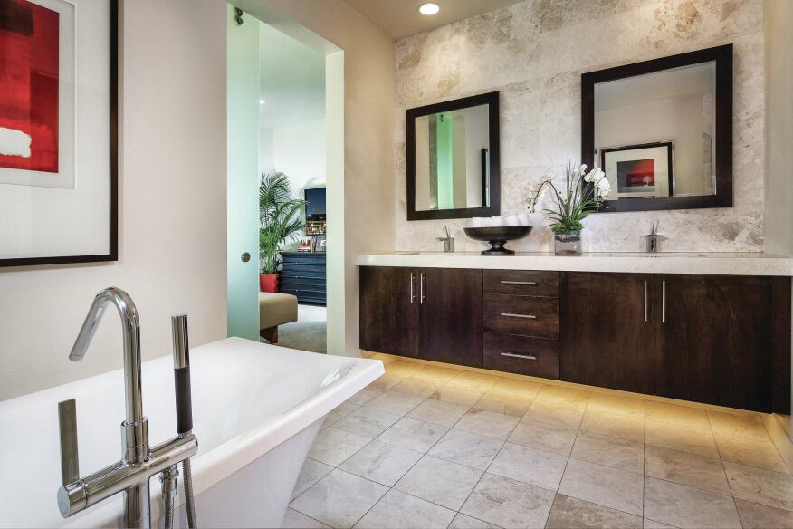 Spalike Baths Rumors of the demise of bathtubs may have been exaggerated. At KB Home's Skylar at Playa Vista, master baths come complete with dual sinks, a soaker tub, and a walk-in shower that offers both sanctuary and function.