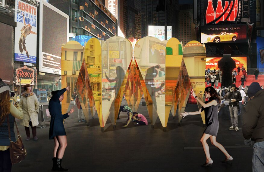 The site is also supposed to interact with the surrounding environment, acting as a mirror for the activity in Times Square.