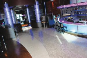 Surfacing Solutions Inc., Temecula, Calif., polished and stained 3500 sq. ft. of concrete floors for a new night club at the Wild Horse Pass Hotel and Casino in Chandler, Ariz. The architect specified a decorative surface with rock and glass seeded into the concrete floor. A major challenge was polishing three handicap access ramps. The ramp grinding had to be done by hand because of the weight of the polishing machines. All contractors successfully met the opening night deadline.