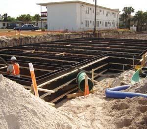 WHY IT'S COOL: Traditional treatment ponds would've taken up too much space, much of which was privately owned, so 770,000 gallons of stormwater flows to cast-in-place vaults below the central business district right of way. Photo: Reynolds, Smith and Hills Inc.