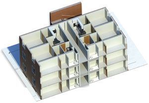 A BIM model can include information that goes far beyond dimension and locations of building elements, for example a building's brick façade, the finishes for each interior wall and floor surface, and specific plumbing fixtures.