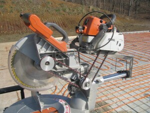 Ridgid miter saw jointed to a Stihl chainsaw.