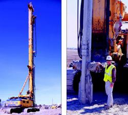 Left: Mounted on a drilling rig, the vibro-soil-penetrator makes a 70 foot hole in 5 to 7 minutes that is then filled with concrete and rebar. Right: Kevin Harms stands beside the company's Bauer BG 40 rotary drilling rig with the vibro-soil-penetrator attached. The rig can be configured into at least five different basic drilling systems. Its net operating weight (without attachments) is 157 tons and the torque is 287,600 foot-pounds.
