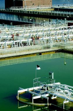 The Bachman Water Treatment Plant uses a traditional flocculation, sedimentation, and filtration process.