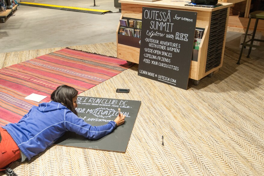 Handcrafted in-store messaging gives a personal touch to pricing and promotional information, which focus on local hikes and outdoor groups. Eastern white and red oak flooring was salvaged from dunnage.