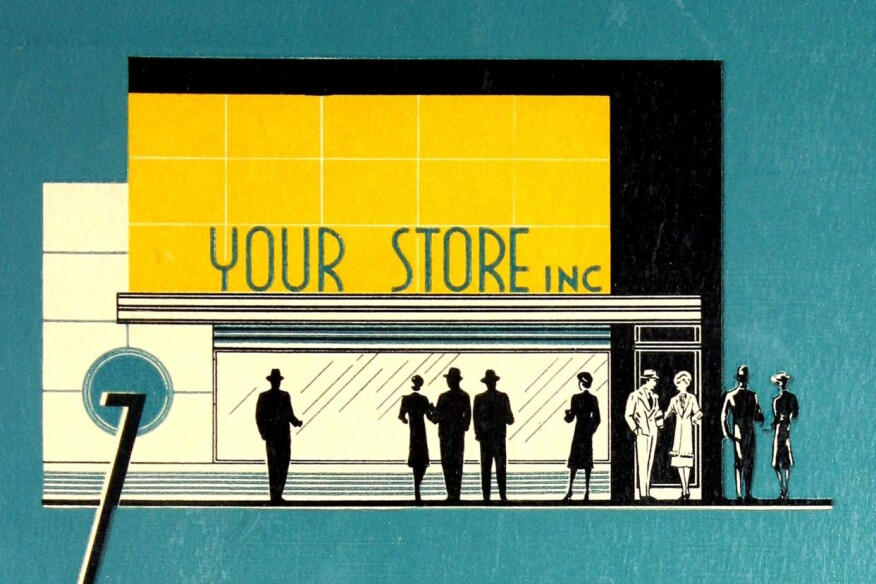 "From the cover of glazing manufacturer Libbey-Owens-Ford's 1938 catalog, ""How to Plan and Construct Modern Storefronts."""