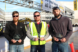 Wacker Neuson's Trowel Challenge Winners 2016: (l to r), 3rd place, Douglas Garber, B Concrete, Brookville, OH; 1st place Kevin Suchy, Easy Lay Concrete, Tofield, Alberta, Canada; 2nd place Josh Smith, H & M Precision Concrete, Greenville, OH.
